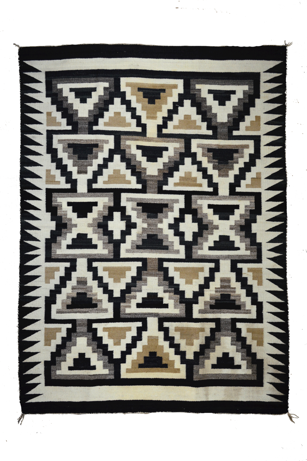 "Old Crystal Trading Post Style Navajo Floor Rug   Handspun Natural Wools - c.1910  60"" x 45"" // BV0438"