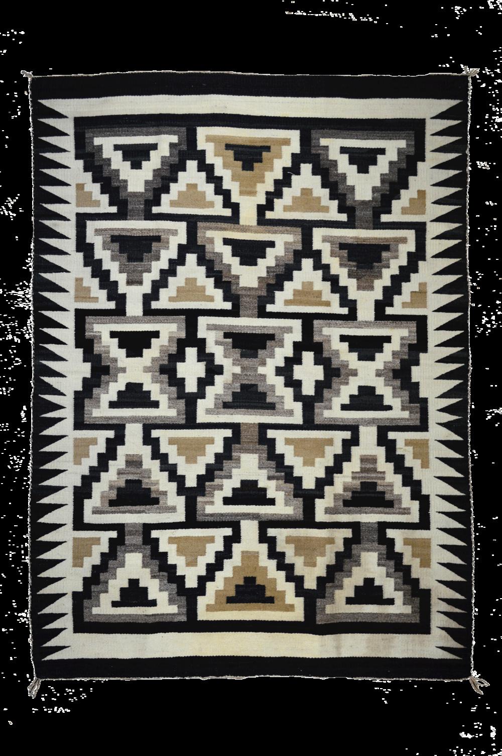 "Old Crystal Trading Post Style Navajo Floor Rug Handspun Natural Wools -c.1910 60"" x 45"" // BV0438"