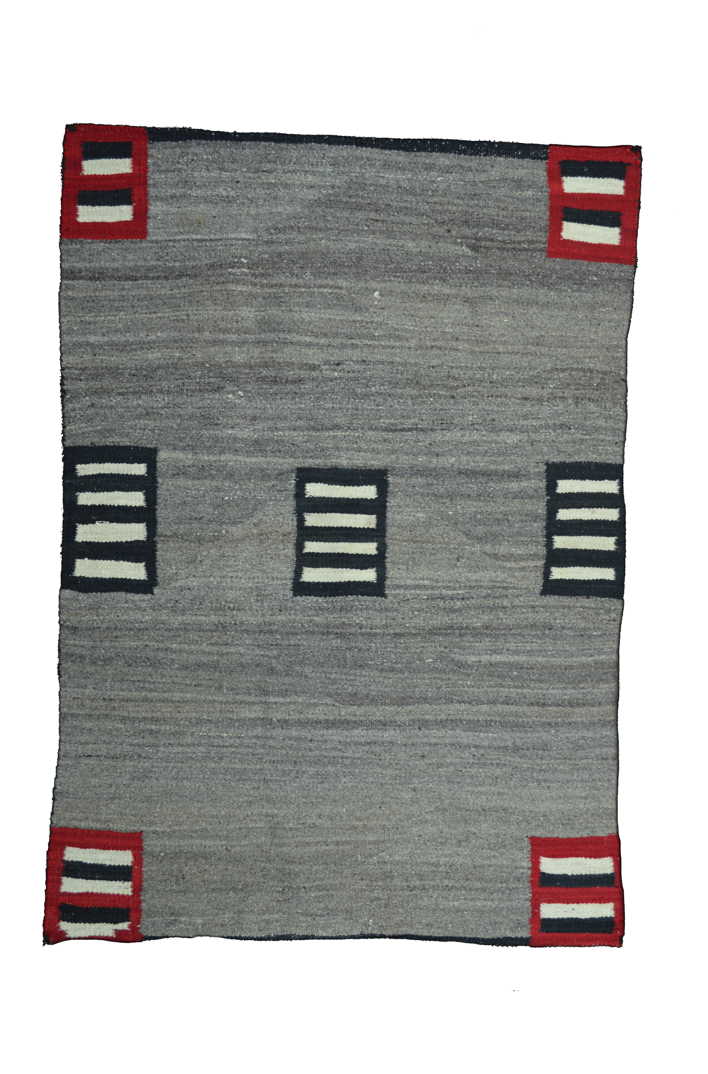 "Navajo Double Saddle Blanket    Handspun Wool   Synthetic Reds, Natural Greys & Black  c.1910  48"" x 33"" // BV0132"