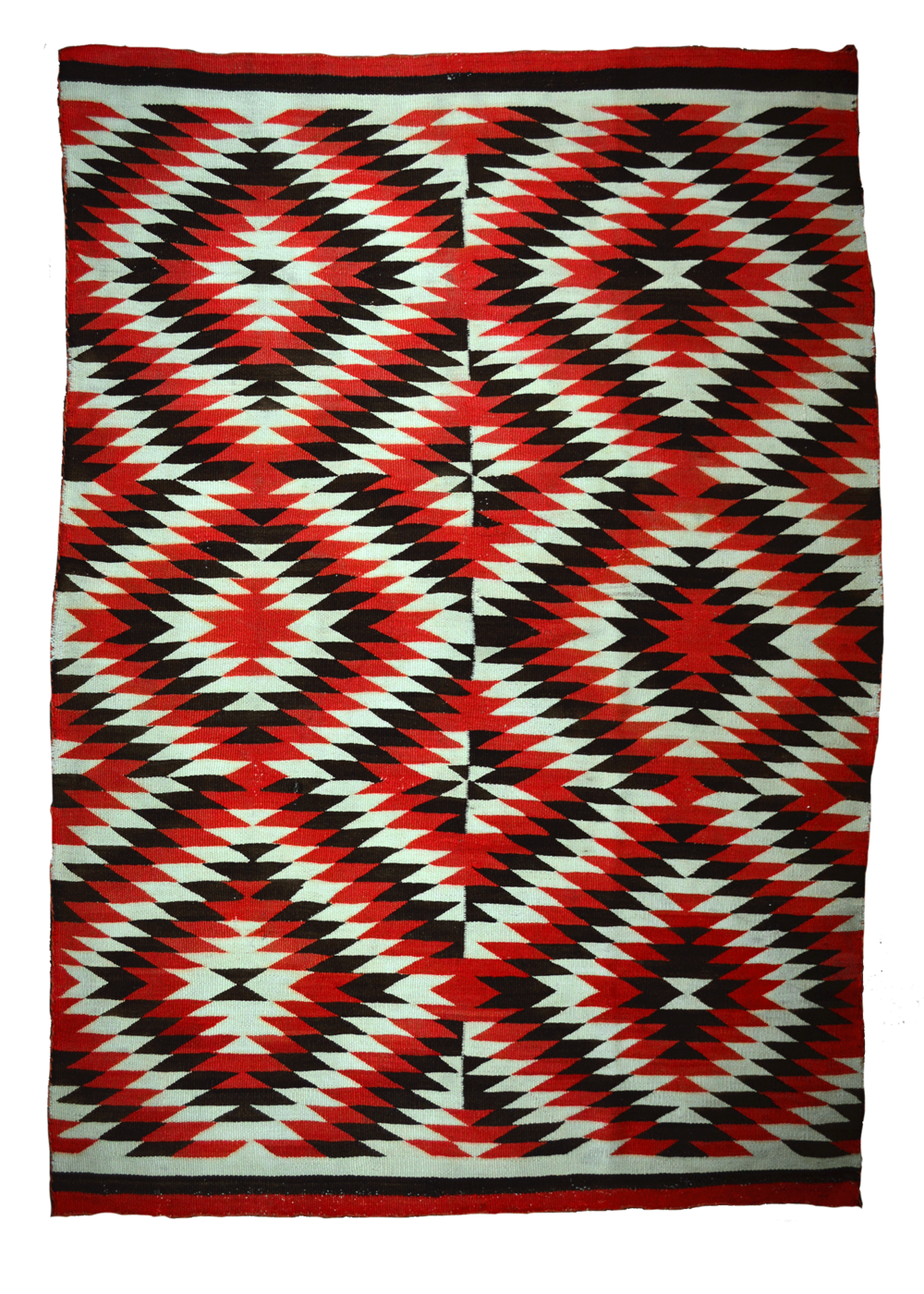 "Eye-Dazzler Navajo Floor  Rug   Handspun Natural Dyed Wool with Commercial Reds - c.1890  69"" x 48"" // CRT0004"