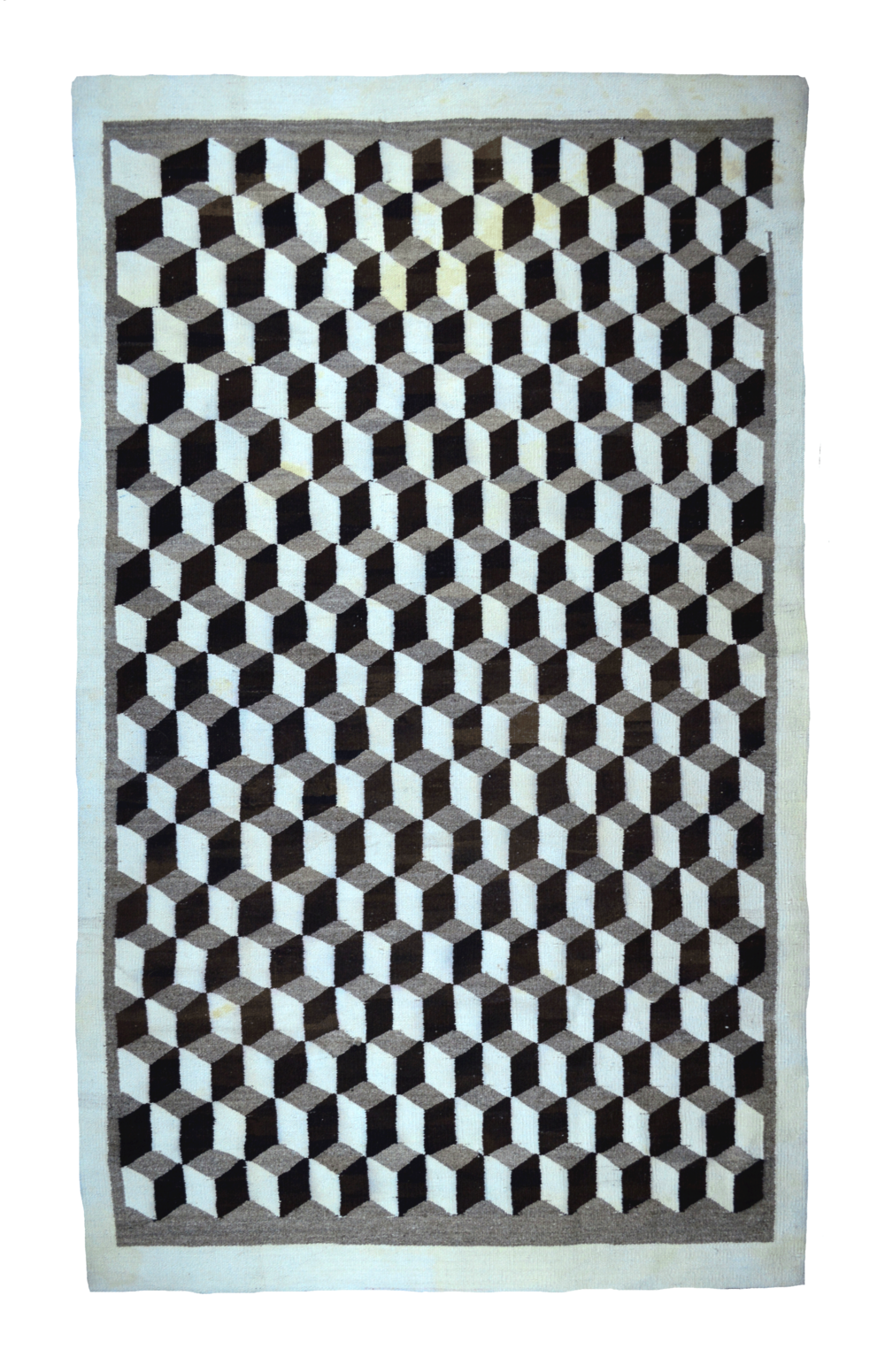 "Rolling Blocks Navajo Floor Rug   Handspun Wools -c.1930s  79"" x 54"" // BV0451"