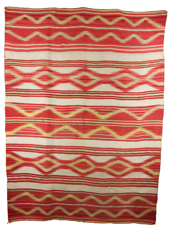 "Navajo Man's Serape Early Synthetic Reds, Natural Browns with Rabbit Brush Dyed Handspun Wool c.1870-1880 74"" x 56"" // DV0055"