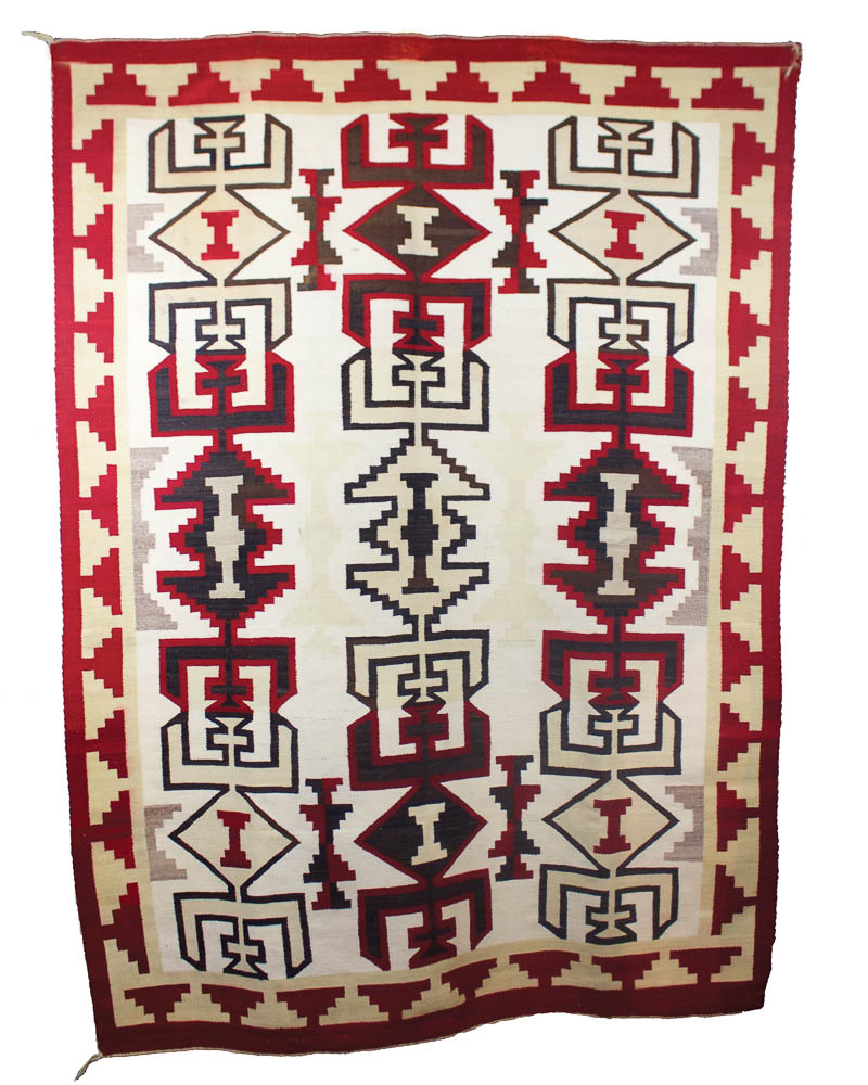 """Incredible Navajo Floor Rug Commerical Reds and Natural Dyes of Black, Grey &Tan c.1920 72"""" x 54"""" // BV0136"""