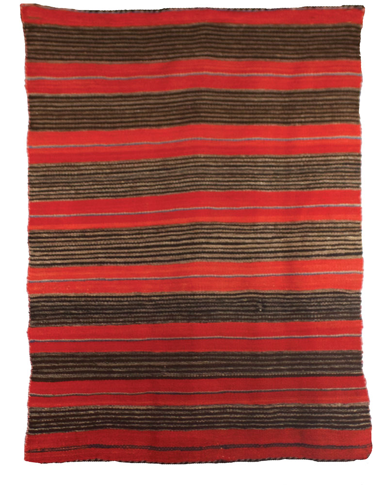 "Navajo Child's Blanket Handspun Wool Natural Browns, Commerical Red and Indigo c.1880 43"" x 30"" // BV0135"