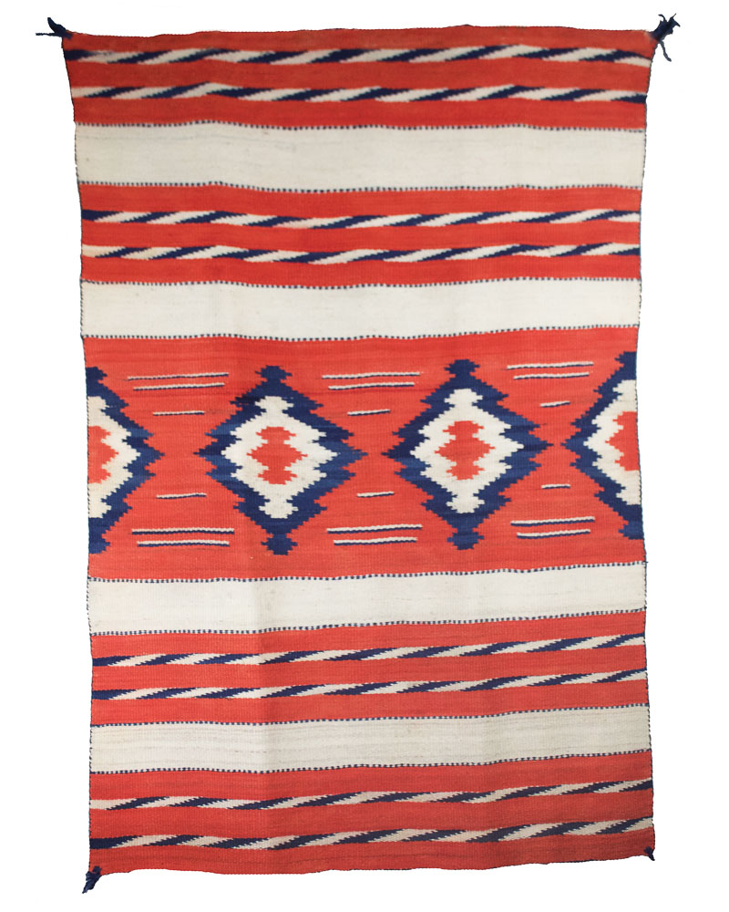 "Child's/Woman's Navajo Blanket Handspun Wool Natural Ivory, Commerical Reds & Indigo c.1880 58"" x 39"" // DV0052"