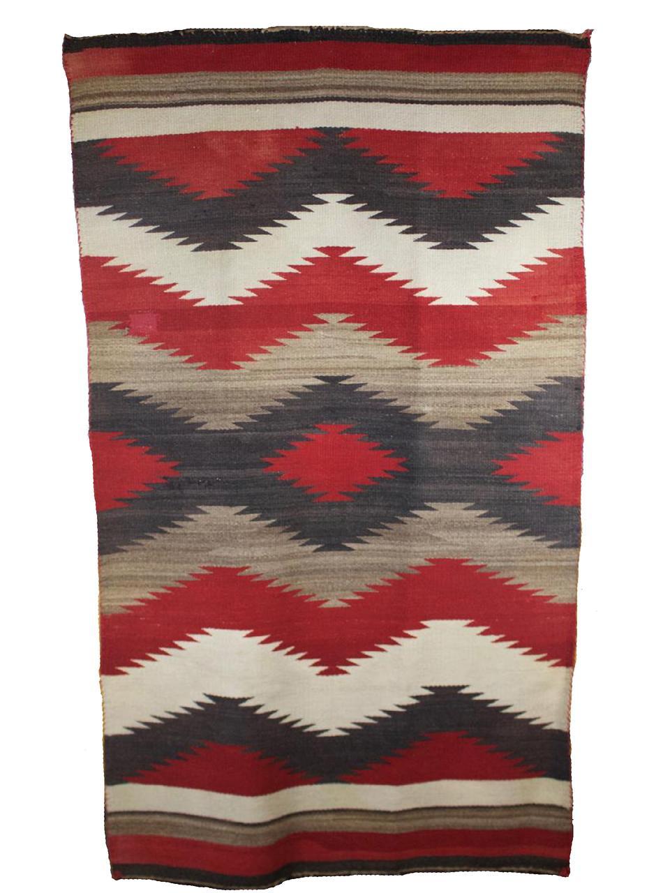 """Navajo Double Saddle Blanket c.1940 64"""" x 34"""" // BV0439"""