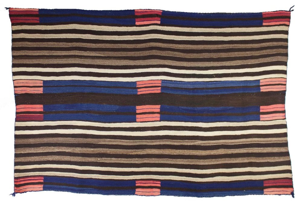 "Navajo Woman's 2nd Phase Late Classic   Wearing Blanket    c.1860s  52"" x 35.5"" // CGL0014"