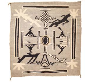 """Navajo Sand Painting Weaving Early 1900s 37"""" x 38"""" // BV0498"""