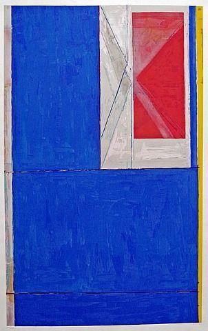 "Richard Diebenkorn Blue (1984) Woodcut in Colors on Misumata 48.25"" x 32.25"" (Framed) CCS0001"