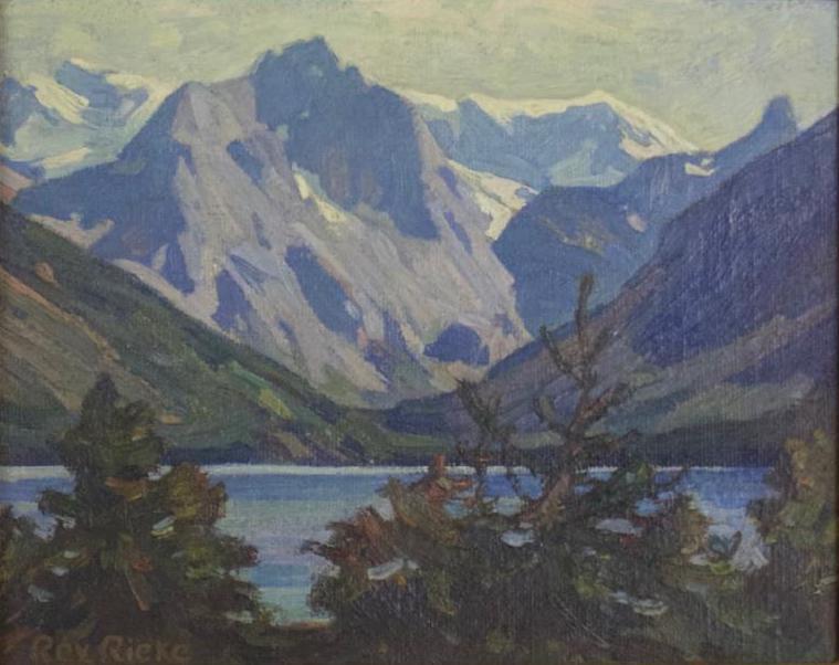 """Rex Reike East Rosebud Lake, Montana (1972) Oil on Canvas - 14"""" x 16"""" (Framed) BV0159"""
