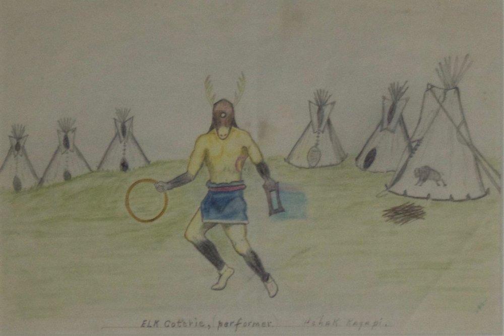 """Lakota Ledger Drawing   c.1900   Framed: 13.75"""" x 17""""  BV0163"""