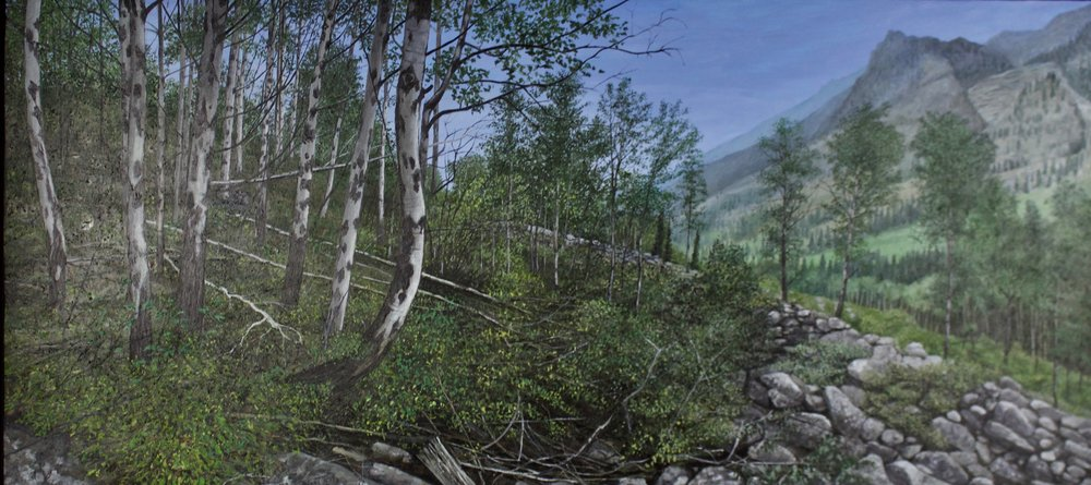 "John Cleaveland    Elemental Forces: Boulder River BNF , 2017       Oil on Panel  19"" x 40""    CJC0004"