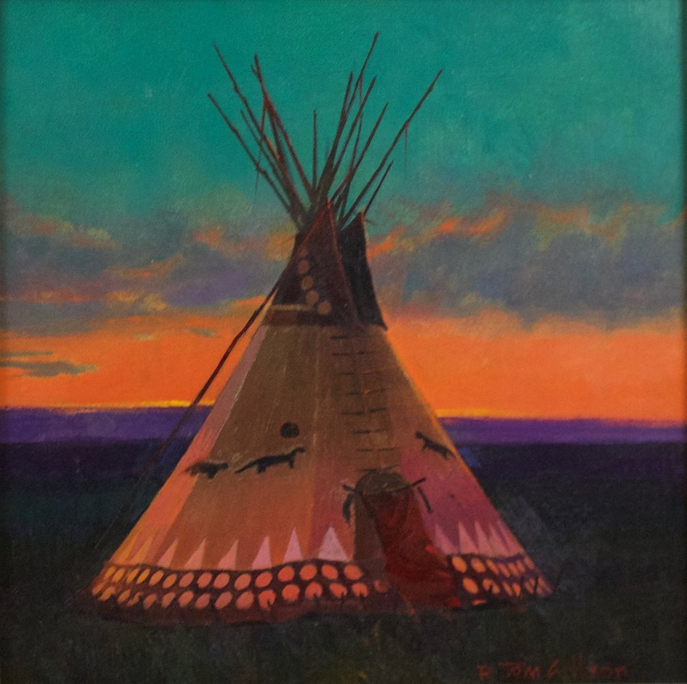 "R. Tom Gilleon    Blackfoot Otter   Oil on Panel  Framed 12"" x 12""   CCS0002"