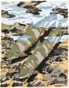 "Neil G. Welliver  (1929-2005)   Study for Trout No. 2 , 1982  Watercolor and Graphite on Paper    Framed 12"" x 9""   CGL0036"