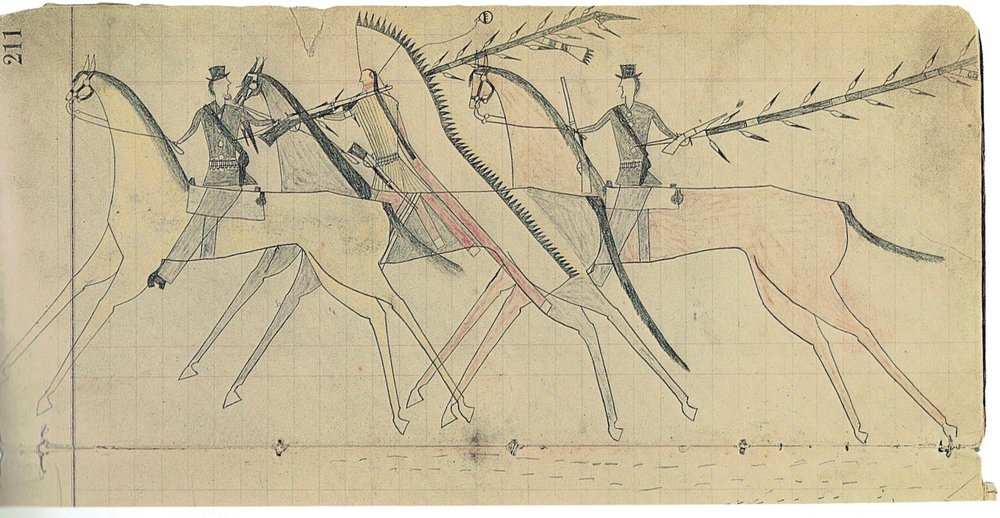 Little Shield Counts Coup on Two Mounted Soldiers  From the Last Bull Ledger, Northern Cheyenne War Book  See:  Northern Cheyenne Painted Pictorial Buffalo Robe  - Depicting Little Shield in Battle - Available for purchase through Sundog Fine Art