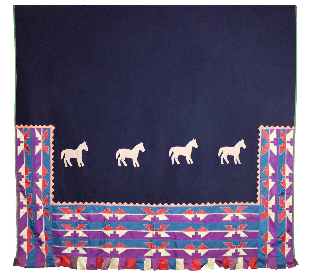"Osage Dance Shawl,  c. 1900  Wool, Satin, Trade Cloth and Metal Bells, 61.5"" x 65""  BV0803"