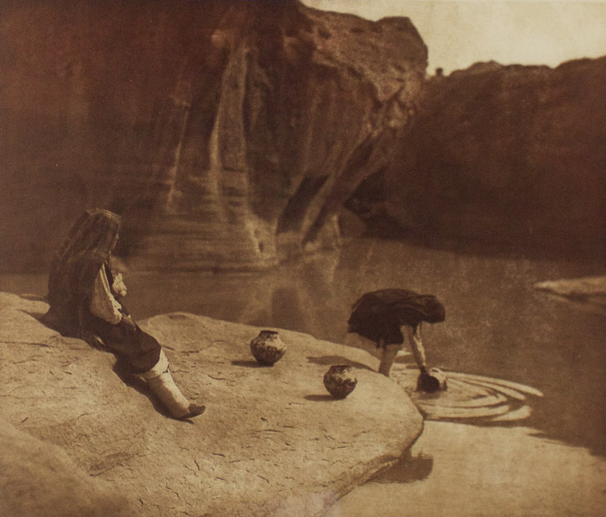 "Edward S. Curtis    At the Old Well of Acoma , 1904  Photogravure, VanGelder  Framed 26.5"" x 25""  BV0527"