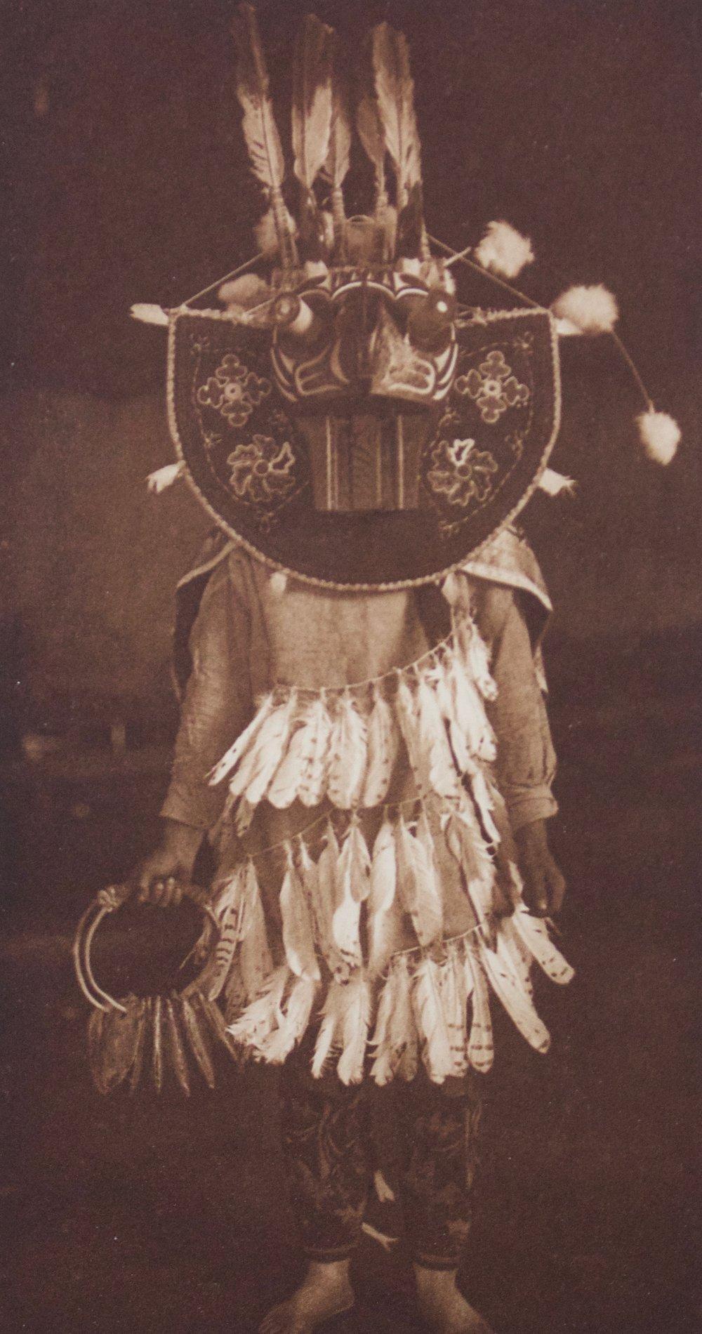 "Edward S. Curtis    Masked Dancer , Cowichan, 1912  Photogravure, Van Gelder  Framed 17"" x 14""  BV0429"