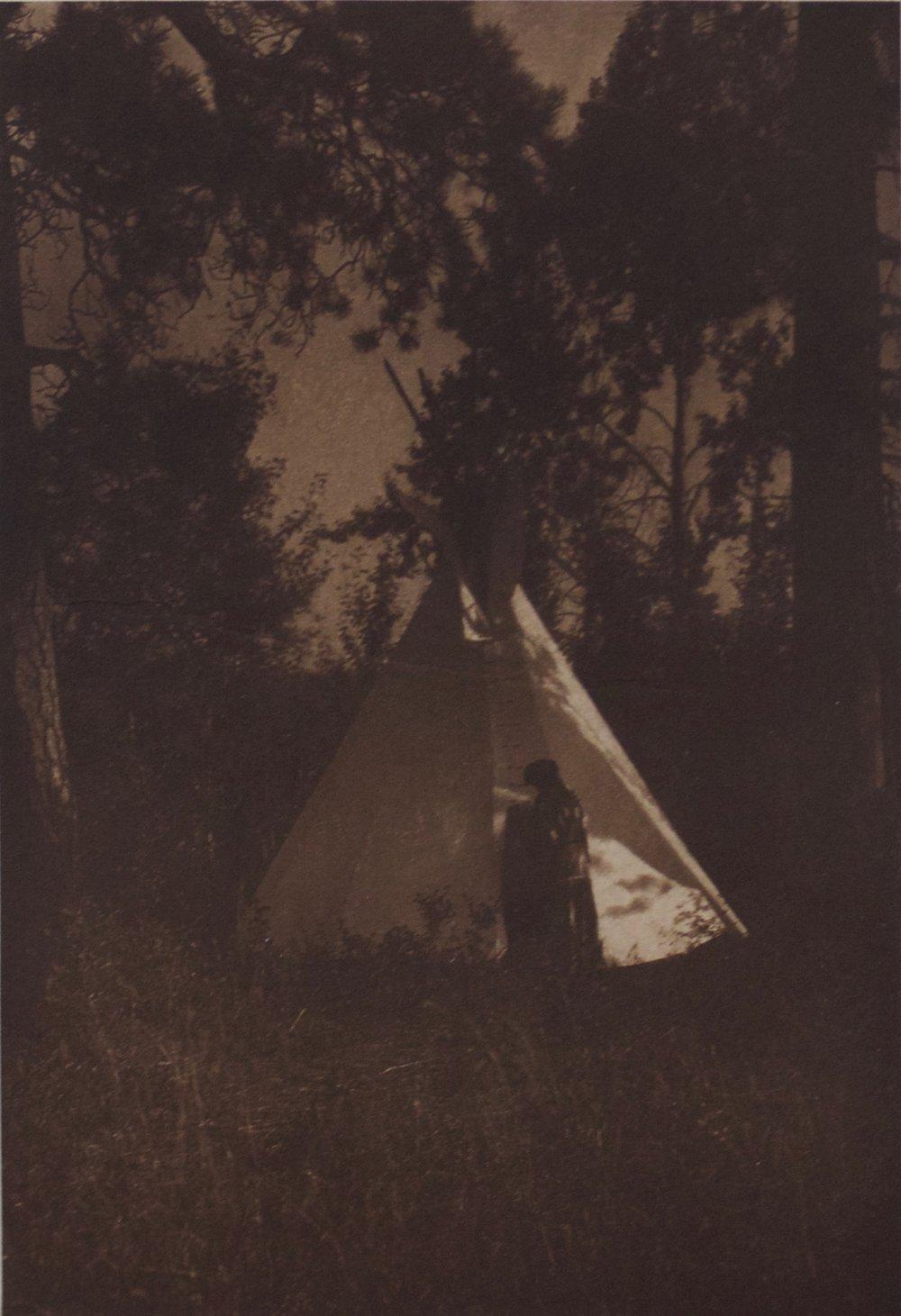 "Edward S. Curtis    Camp in the Forest , Kutenai, 1910  Photogravure, Vellum  Framed 23.5"" x 19.5""  BV0149"