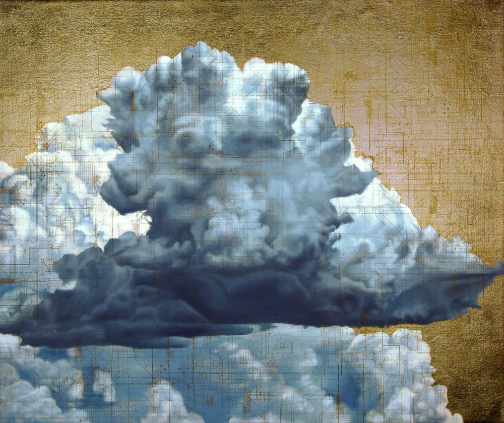 "Michelle Osman    Cumulus II,  2016  Acrylic Silk Screen and Oil on Canvas 26"" x 32""  CMO0014"