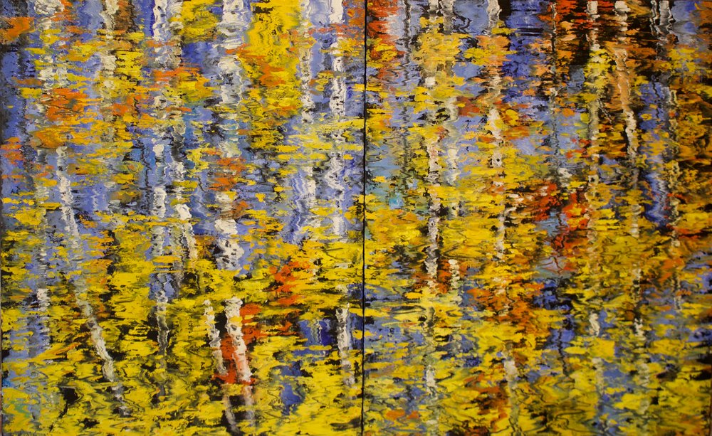 "James Pringle Cook    Boulder Creek Reflections #1    Oil on Linen 50"" x 80.25"" (diptych)  CJC0015"
