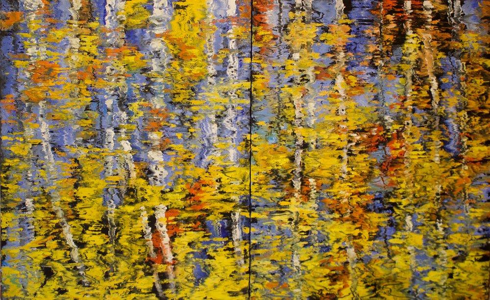 "James Pringle Cook    Boulder Creek Reflections #1    Oil on Linen 50"" x 80.25"" (diptych)  CJC0015"