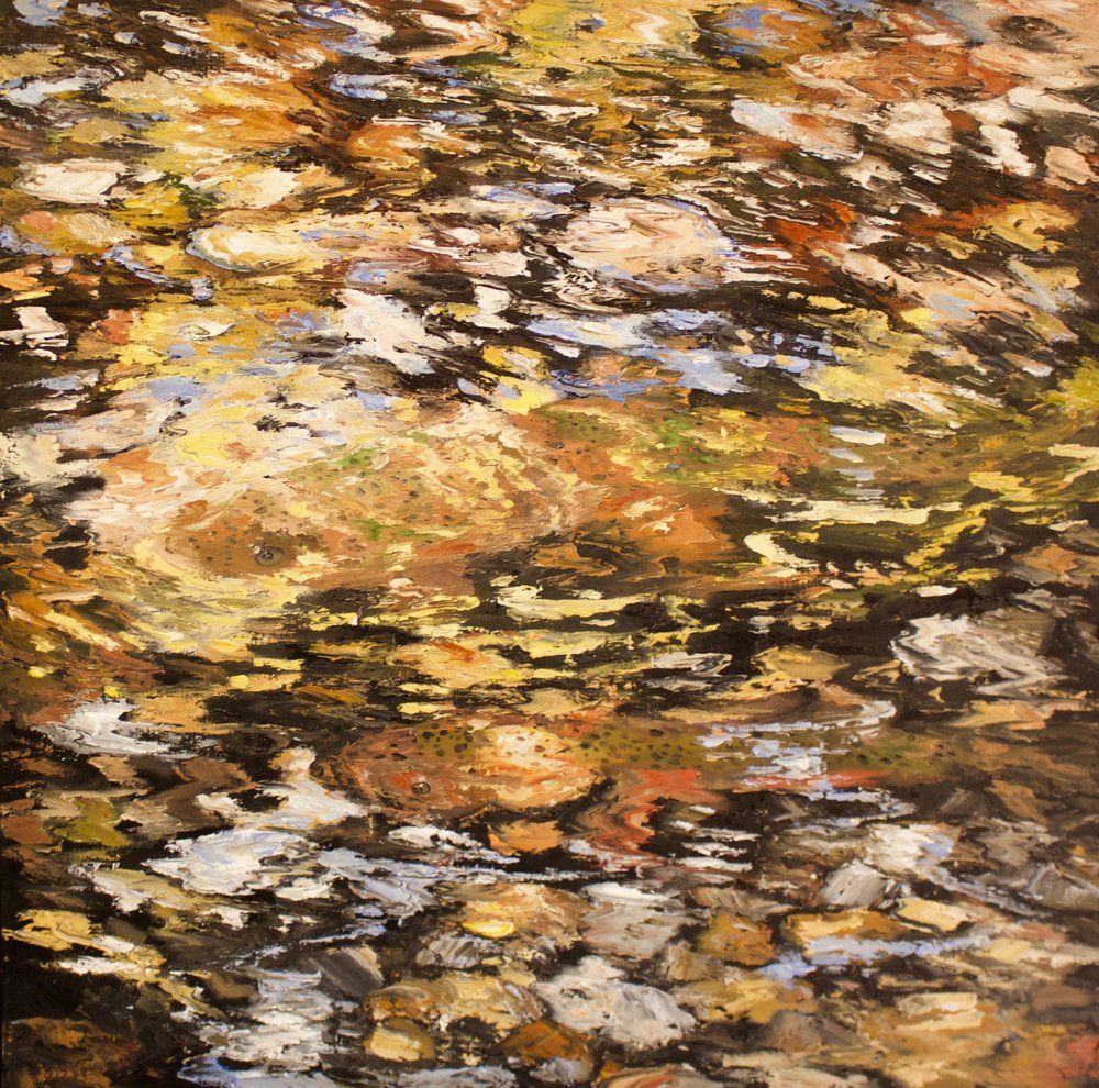 "James Pringle Cook    The Stream #2   Oil on Linen 48"" x 48""  (sold individually or as quadriptych)  CJC0010"