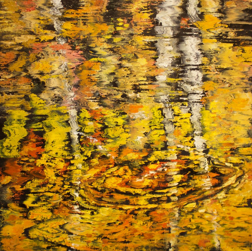 "James Pringle Cook    The Stream #1   Oil on Linen 48"" x 48""  (sold individually or as quadriptych  CJC0009"