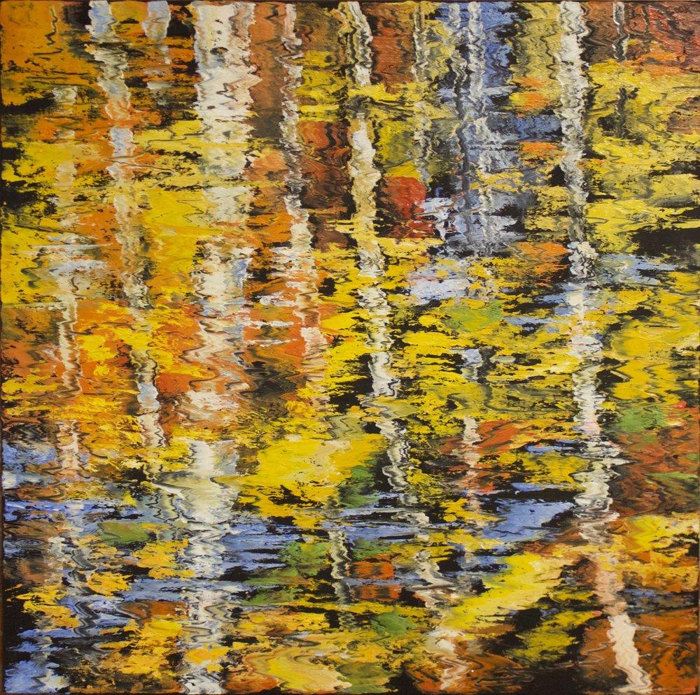 "James Pringle Cook    Pine Top Aspen Reflections    Oil on Linen 48"" x 48""  CJC0006"