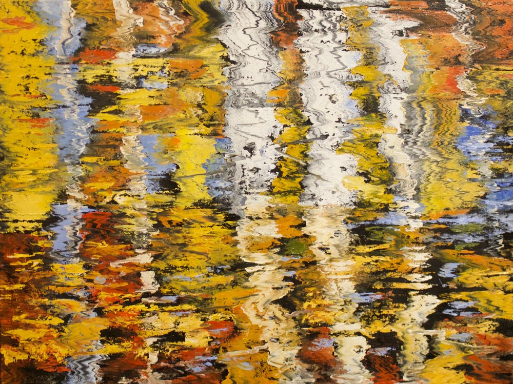 "James Pringle Cook    Pine Top Aspen Reflections #3   Oil on Linen 36"" x 48""  CJC0009"