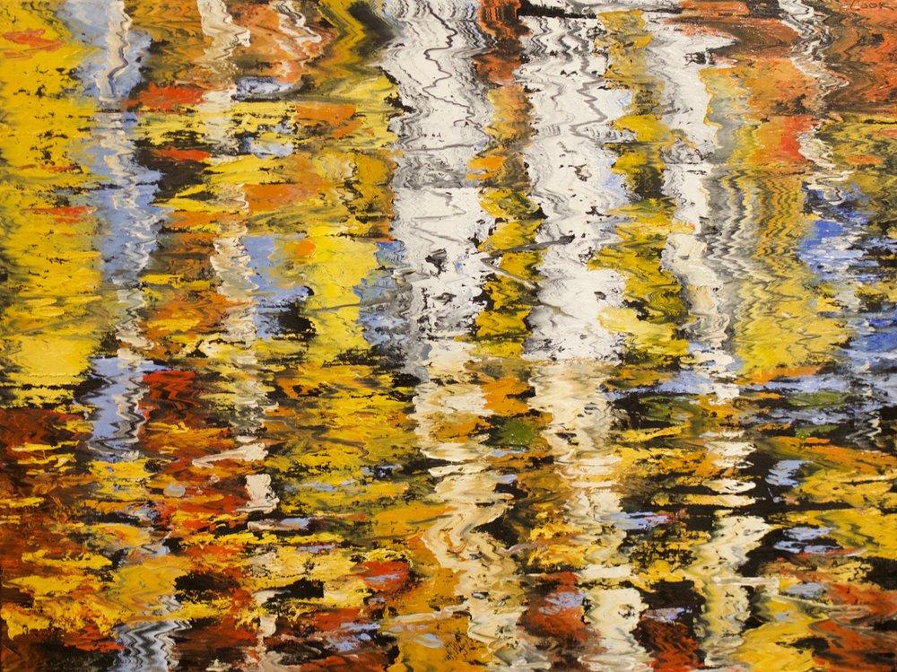 "James Pringle Cook    Pine Top Aspen Reflections #3   Oil on Linen 36"" x 48""  CJC0009"
