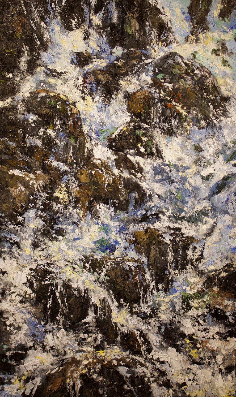 "James Pringle Cook    Adam's Creek Cascade #1   Oil on Linen 70"" x 42""  CJC0014"