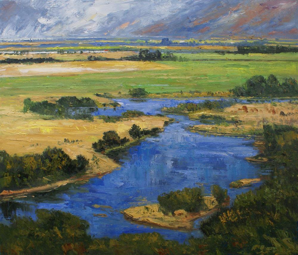 "James Pringle Cook    Silver Creek Summer Rain #1   Oil on Linen 60"" x 70""  CJC0005"