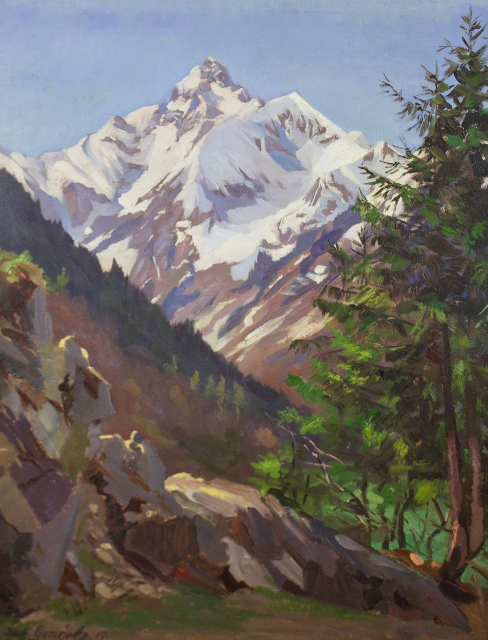 "Unknown Artist    Twin Spanish Peaks   Oil on Canvas  Framed 28.5"" x 24.5""   BV0681"