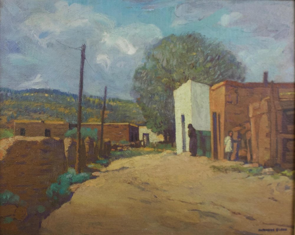 "Marianna Sloan  (1875-1954)  Santa Fe Street Scene  Oil on Panel  Framed 16"" x 20""  BV0723"