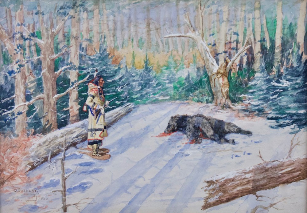 "Olaf Carl Seltzer  (1877-1957)   Trapper , 1900  Gouache and Watercolor  Framed: 23.5"" x 29.25""  CGL0004"