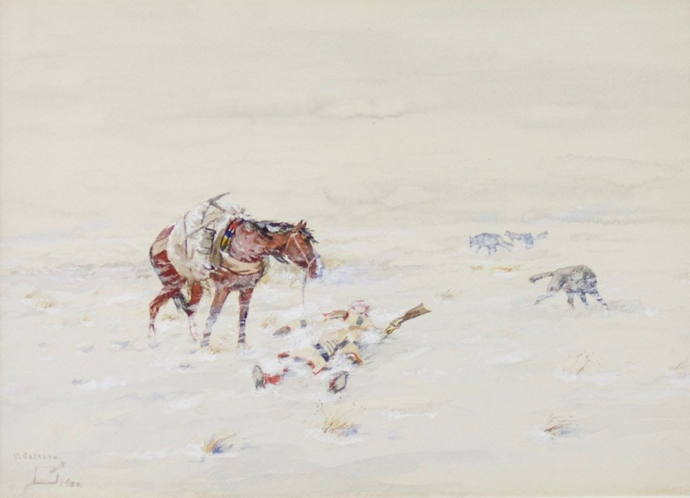 "Olaf Carl Seltzer  (1877-1957)   Trapper , 1900  Gouache and Watercolor  Framed: 24"" x 29.5""  CGL0005"
