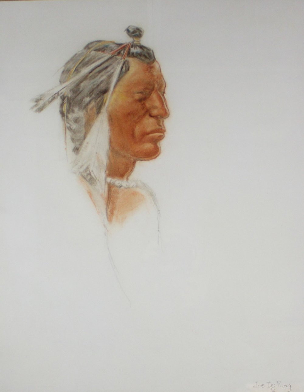 "Joe De Yong  (1894-1975)   Blackfoot Warrior , 1910  Conte and Charcoal  Framed 31.5"" x 28""  BV0250"