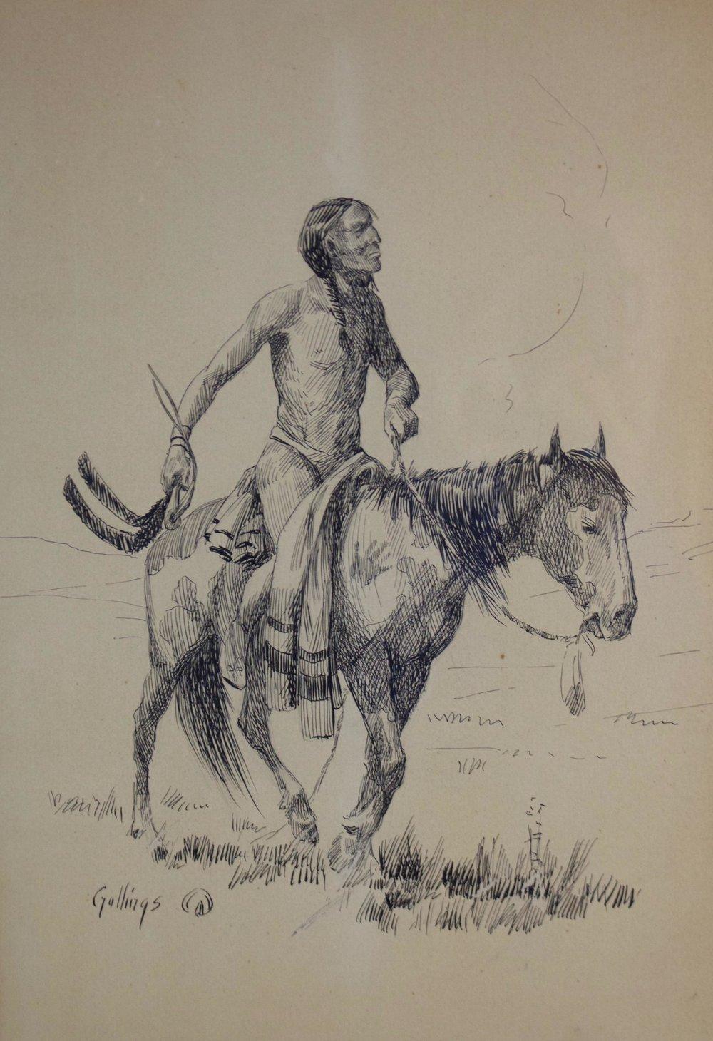 """Elling William Gollings  (1878-1932)   Indian on Horseback   Pen and Ink  Framed 15"""" x 10.5""""  CTN0003"""