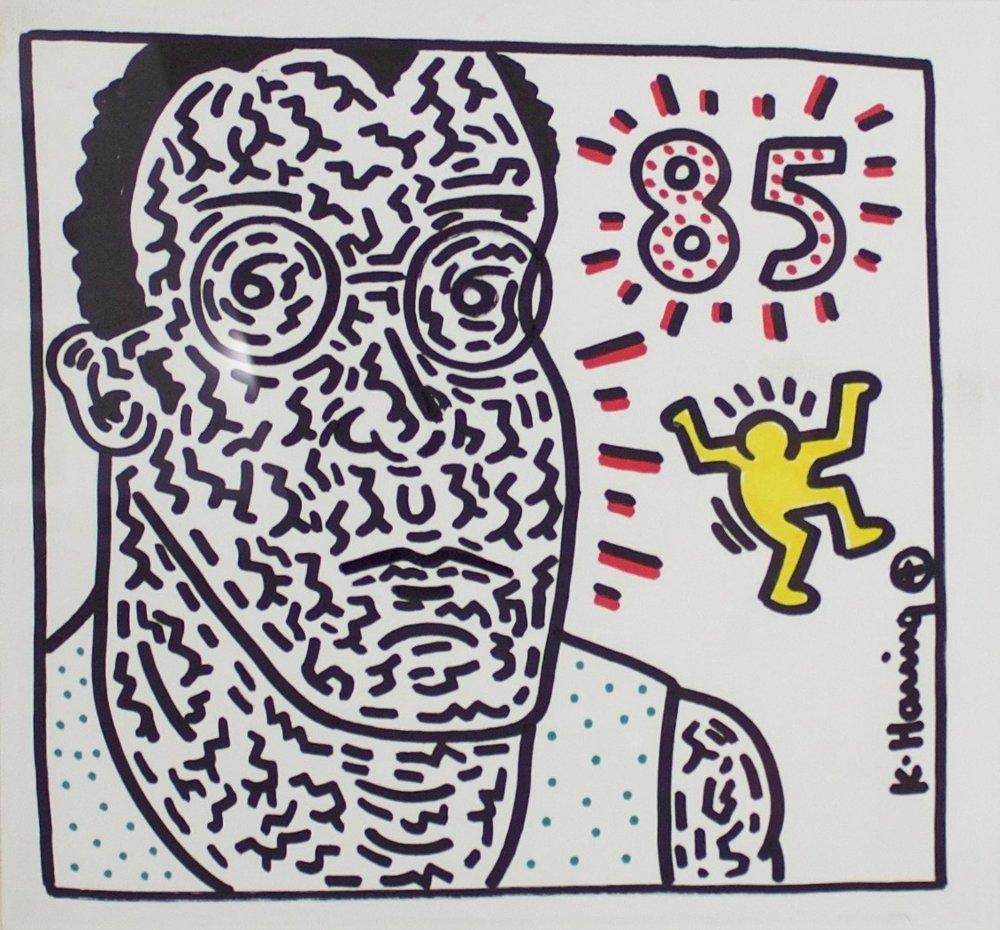 "Kieth Haring (1958-1990)  Untitled (Self Portrait), 1985  Marker on Paper  Framed 9.5"" x 10.5""  CGL0037"