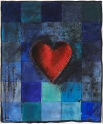 "Jim Dine     Hart in Blu , 1995  Woodcut and Etching with Hand Coloring During Printing Process on Arches Cover White Paper with Cut Edges 19/50  Framed 27.5"" x 22.25""  CGL0027"