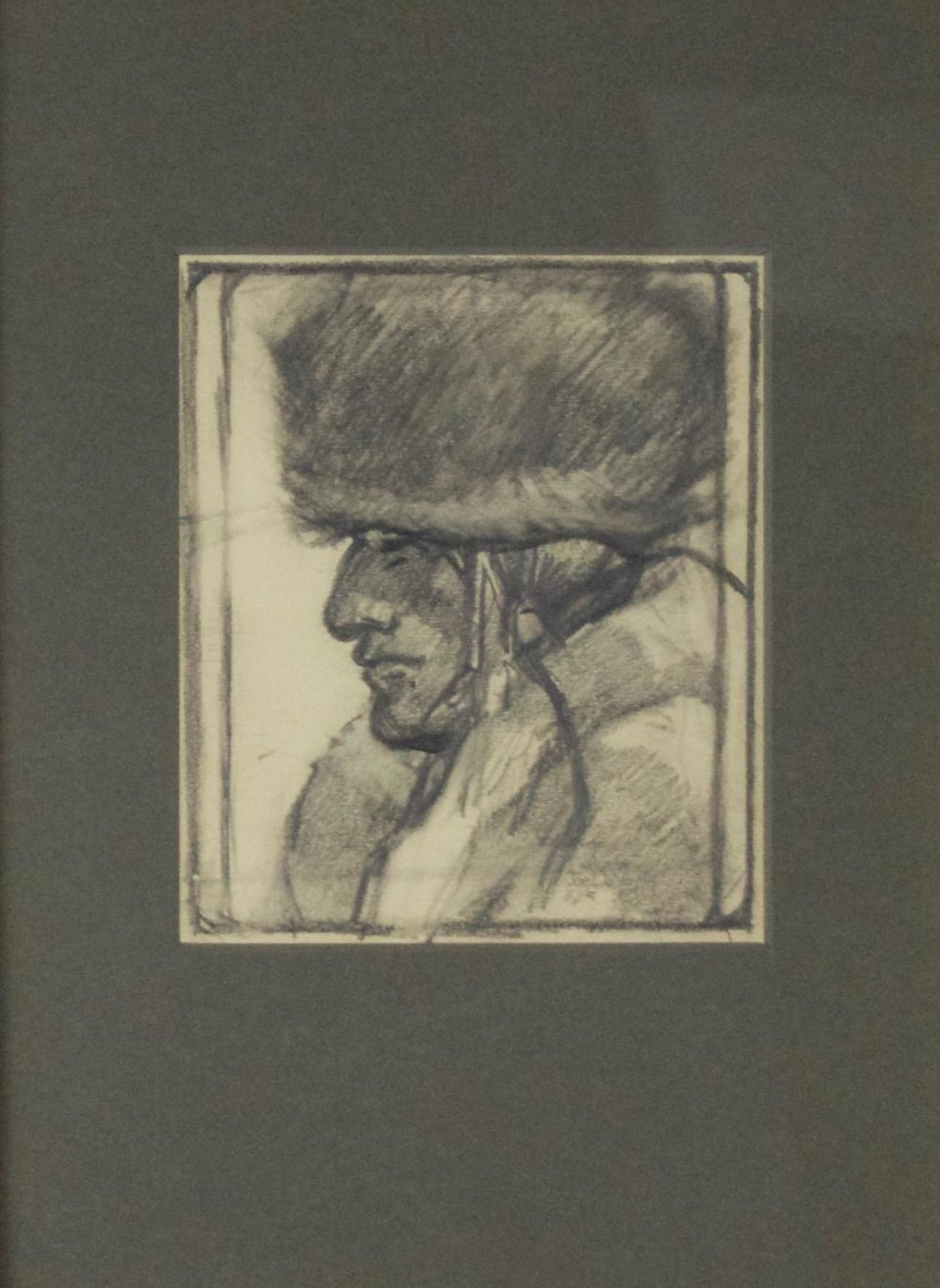 "Joe De Yong  (1894-1975)   Blackfoot Warrior , 1920  Charcoal and Graphite on Paper  Framed 17.5"" x 14.5""   SOLD."