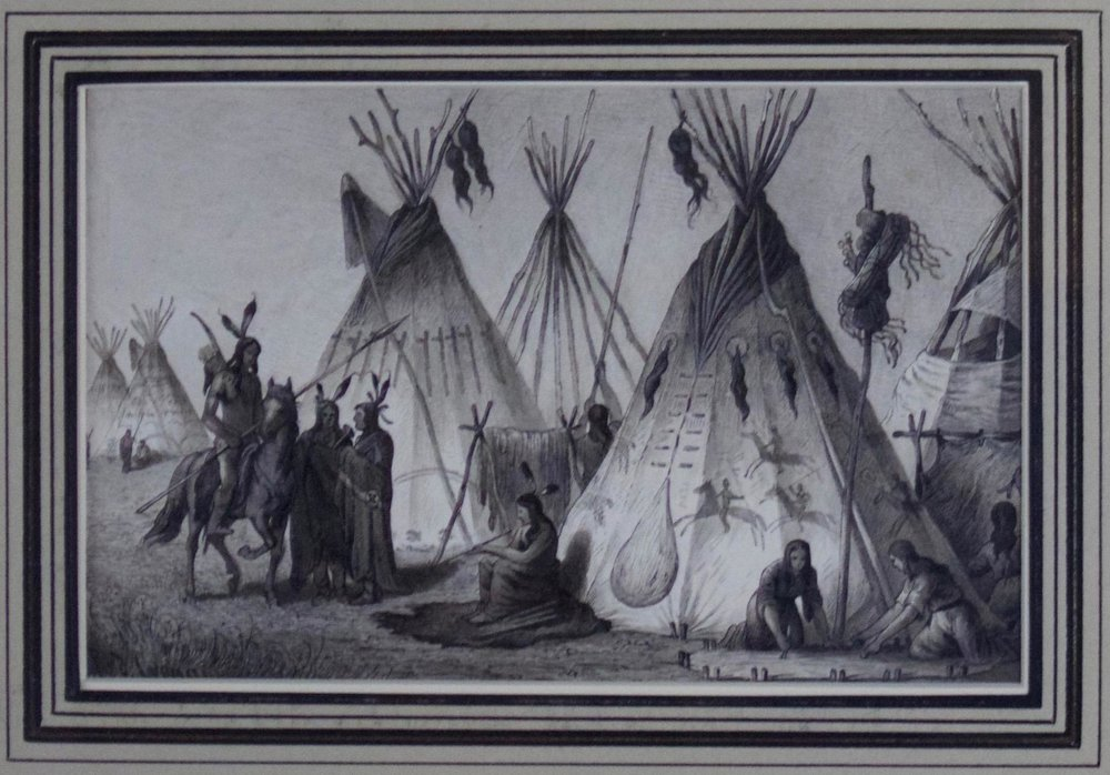 Rudolf Cronau  (1855-1939)  A Camp of the Dakotas Standing Rock, 1881  Pen & Ink with B&W Wash  Framed  CTN0001