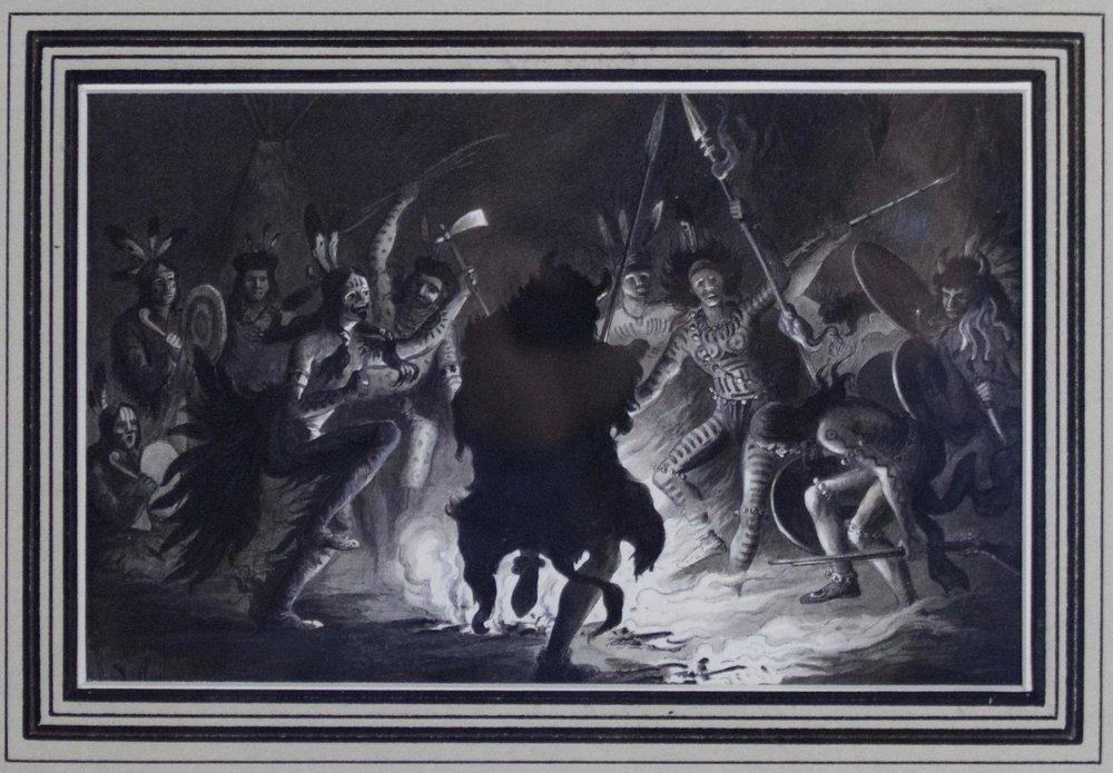 Rudolf Cronau  (1855-1939)    War Dance of the Dakotas Performed at Standing Rock Reservation, 1881  Pen & Ink with B&W Wash  Framed  CTN0002