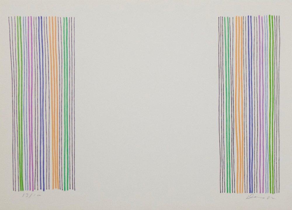 """Gene Davis  (1920-1985)  Untitled, 1983  Lithograph  Framed 12.25"""" x 15.25""""  CAS0001"""