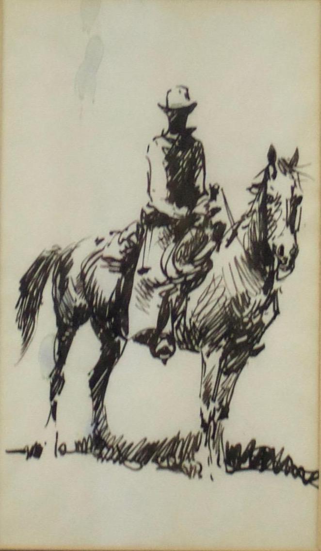 Edward Borein  (1872-1945)  Untitled - Cowboy on Horseback  Graphite on Paper  Framed  CKF0023