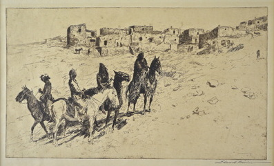 "Edward Borein  (1872-1945)   Navajo Visiting Oribi , 1930  Graphite on Paper  Frame 19"" x 23.5""  CRT0011"
