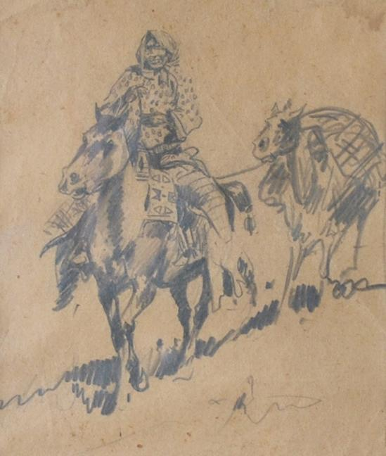 "Edward Borein  (1872-1945)  Untitled - Native American on Horseback  Graphite on Paper  Frame 6.75"" x 5.75""  CCT0018"