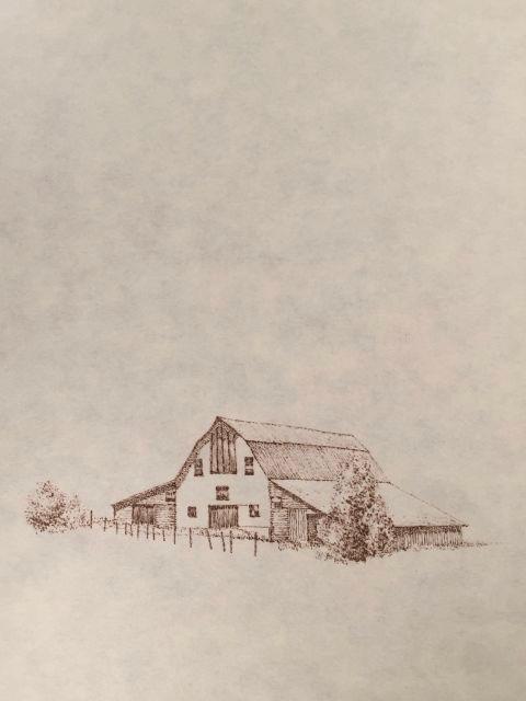 "John Saurer    Cattle Barn II   Branded Paper Drawing, Thai Mulberry Paper  30"" x 22""  CJS0027"