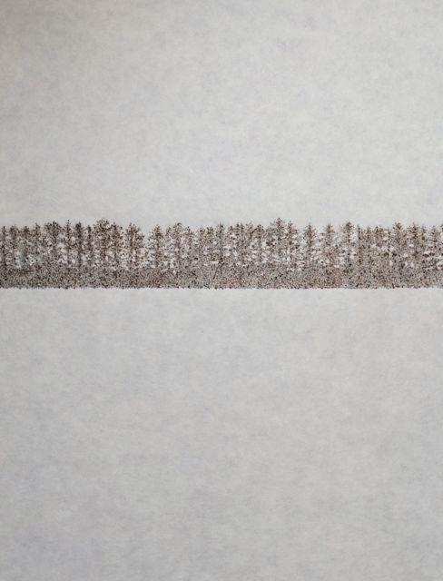 "John Saurer    Windbreak   Branded Paper Drawing, Thai Mulberry Paper  30"" x 22""  CJS0024"
